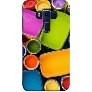 FUSON Designer Back Case Cover For Asus Zenfone 3 Deluxe ZS570KL (5.7 Inches) (Cans And Paint On Colour Background Bright Full Joy )