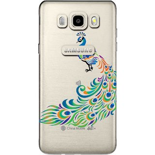Snooky Printed Peacock Mobile Back Cover of Samsung Galaxy J7 (2016) - Multicolour