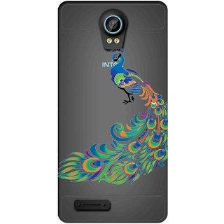 Snooky Printed Peacock Mobile Back Cover of Intex Aqua Life 2 - Multicolour