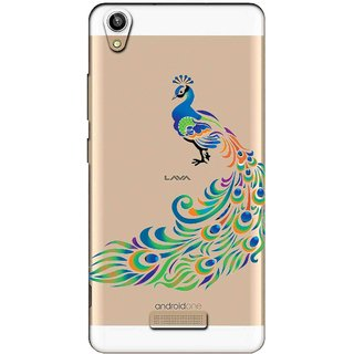 Snooky Printed Peacock Mobile Back Cover of Lava V1 Pixel - Multicolour