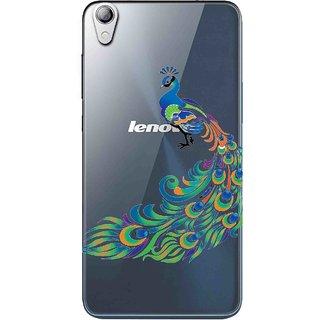 Snooky Printed Peacock Mobile Back Cover of Lenovo S850 - Multicolour