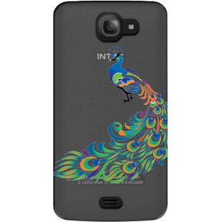 Snooky Printed Peacock Mobile Back Cover of Intex Aqua Wave - Multicolour