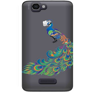 Snooky Printed Peacock Mobile Back Cover of Micromax Canvas 2 A120 - Multicolour