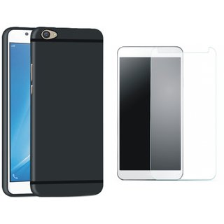 Motorola Moto E4 Silicon Anti Slip Back Cover with Tempered Glass