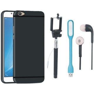 Motorola Moto E4 Silicon Anti Slip Back Cover with Selfie Stick, Earphones and USB LED Light
