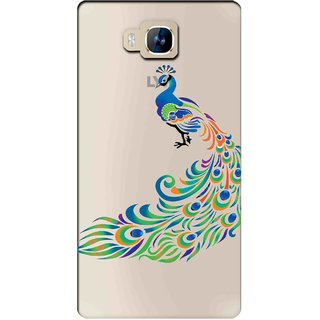 Snooky Printed Peacock Mobile Back Cover of LYF Wind 2 - Multicolour