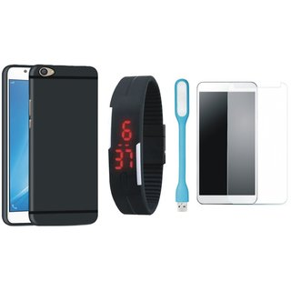 Motorola Moto E4 Plus Stylish Back Cover with Free Digital LED Watch, Tempered Glass and LED Light
