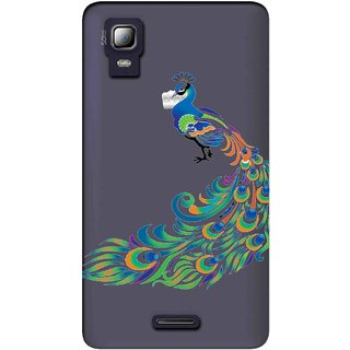 Snooky Printed Peacock Mobile Back Cover of Micromax Canvas Doodle 3 A102 - Multicolour