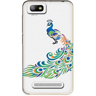 Snooky Printed Peacock Mobile Back Cover of Lava Flair P3 - Multicolour