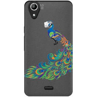 Snooky Printed Peacock Mobile Back Cover of Micromax Canvas Selfie 2 Q340 - Multicolour