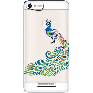 Snooky Printed Peacock Mobile Back Cover of Micromax Canvas Hue 2 - Multicolour