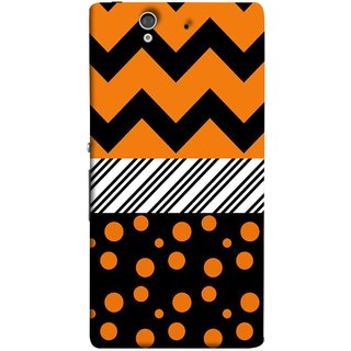 FUSON Designer Back Case Cover For Sony Xperia Z :: Sony Xperia ZC6603 :: Sony Xperia Z L36h C6602 :: Sony Xperia Z LTE, Sony Xperia Z HSPA+ (Pack Craft Paper Orange Dots On Black Background)
