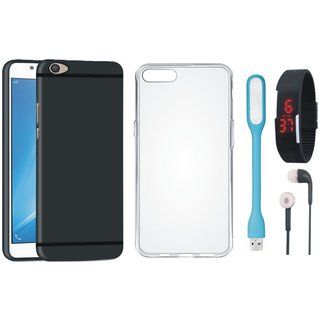 Oppo F1s Ultra Slim Back Cover with Silicon Back Cover, Digital Watch, Earphones and USB LED Light