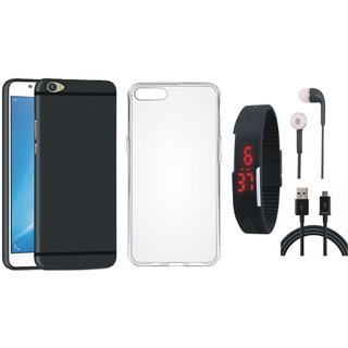 Oppo F1s Ultra Slim Back Cover with Silicon Back Cover, Digital Watch, Earphones and USB Cable