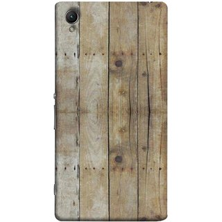 FUSON Designer Back Case Cover For Sony Xperia Z2 (5.2 Inches) (Wooden Back Cover Plates Nails Cracks Joints)
