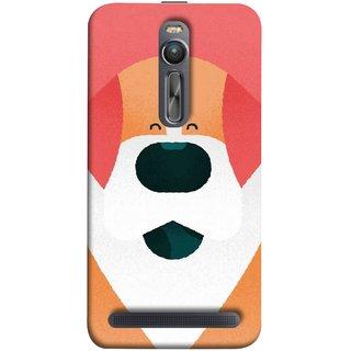 FUSON Designer Back Case Cover For Asus Zenfone 2 ZE551ML (Big Smiling Puppy Canvas Painting Close Up Photo)