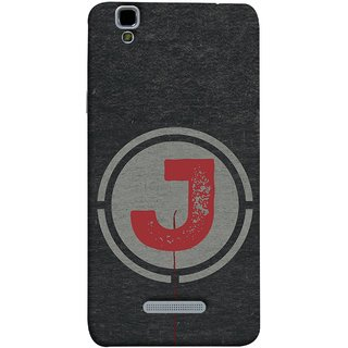 FUSON Designer Back Case Cover For YU Yureka :: YU Yureka AO5510 (Dark Alphabet Circle Vintage Grey Circle Pattern J)