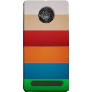 FUSON Designer Back Case Cover For YU Yuphoria :: YU Yuphoria YU5010 (Rainbow Colours Bright Bands Red Orange Blue)