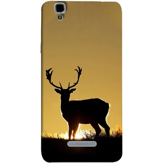 FUSON Designer Back Case Cover For YU Yureka Plus :: Yu Yureka Plus YU5510A (Adult Alone Animals Very Big Horns Looking Back)