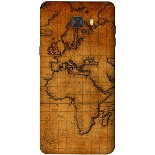 FUSON Designer Back Case Cover For Samsung Galaxy C7 Pro (World Map Altitude And Longitude Countries India )