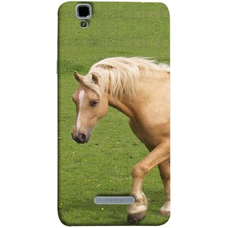 FUSON Designer Back Case Cover For YU Yureka :: YU Yureka AO5510 (White Horse In The Park On The Green Grass)