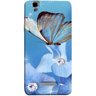 FUSON Designer Back Case Cover For YU Yureka :: YU Yureka AO5510 (In Center Glitter Diamonds Flowers Butterfly Nature)
