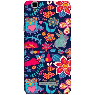 FUSON Designer Back Case Cover For YU Yureka :: YU Yureka AO5510 (Blue Background Leaves Farm Fruits Food Honey Bee)