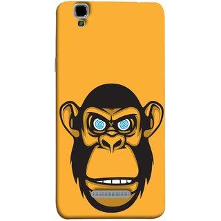 FUSON Designer Back Case Cover For YU Yureka :: YU Yureka AO5510 (Orange Background Open Ears Black Hairs Jungle Nose)