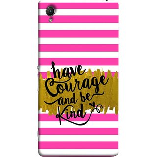 FUSON Designer Back Case Cover For Sony Xperia Z2 (5.2 Inches) (Pink And White Horizontal Strips Gold Paint Black Font)