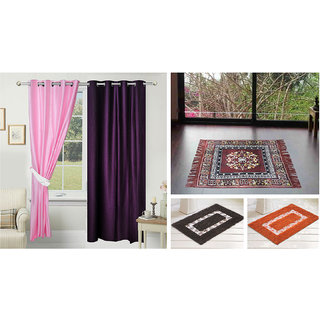 Azaani beautiful solid set of two polyster door curtain with one jute sitting mat and two cotton bathmat(AZ2SOLIDCURTAIN1BROWNSITTINGMAT2BATHMAT-20)