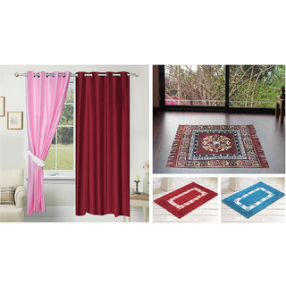 Azaani beautiful solid set of two polyster door curtain with one jute sitting mat and two cotton bathmat(AZ2SOLIDCURTAIN1BROWNSITTINGMAT2BATHMAT-21)