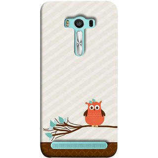 FUSON Designer Back Case Cover For Asus Zenfone 2 Laser ZE550KL (5.5 Inches) (Birds Sitting Alone Waiting For Partner Leaves Leaf)