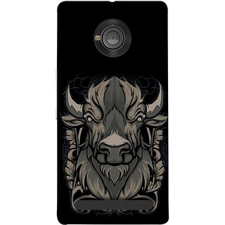 FUSON Designer Back Case Cover For YU Yuphoria :: YU Yuphoria YU5010 (Bull Head Short Horn Ears Butcher Farm Animal)