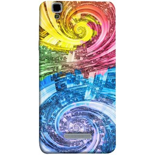 FUSON Designer Back Case Cover For YU Yureka Plus :: Yu Yureka Plus YU5510A (Yellow Pink Blue Green Galaxy Waves Circles Sprial)