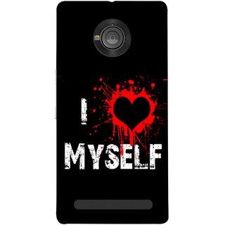 FUSON Designer Back Case Cover For YU Yunique (I Love Myself Bloody Heart Black Background)