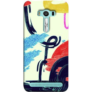 FUSON Designer Back Case Cover For Asus Zenfone 2 Laser ZE550KL (5.5 Inches) (Multicolour Waterfall Oilpaint Blue Rajhans Locket)