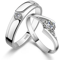 SILVERISH 92.5 Silver Couple Band Platinum Plated Silver Ring Set SCBR13-P