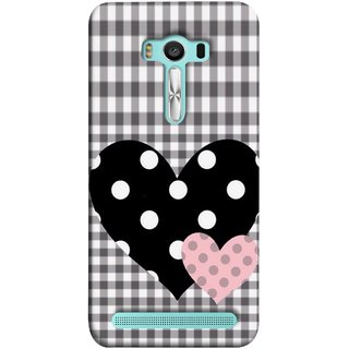 FUSON Designer Back Case Cover For Asus Zenfone 2 Laser ZE500KL (5 Inches) (Two Hearts Towels Pink Love Lovers Small Checks )