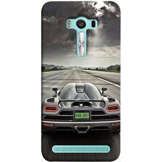 FUSON Designer Back Case Cover For Asus Zenfone 2 Laser ZE550KL (5.5 Inches) (Trees Silver Sports Car Led American Muscle Cars)