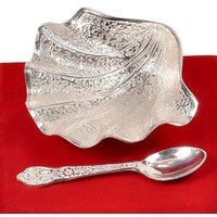 Silver Polish Pearl Oyster Brass Bowl N Spoon
