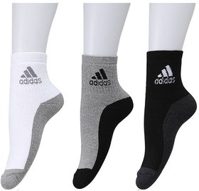 Adidas Multicolour Cotton Ankle Length Socks - 3 Pairs