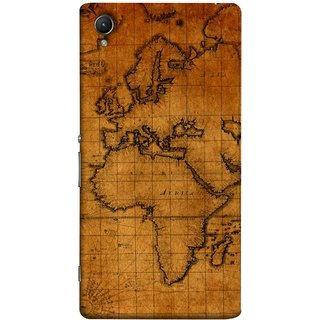FUSON Designer Back Case Cover For Sony Xperia Z1 :: Sony Xperia Z1 L39h :: Sony Xperia Z1 C6902/L39h :: Sony Xperia Z1 C6903 :: Sony Xperia Z1 C6906 :: Sony Xperia Z1 C6943  (World Map Altitude And Longitude Countries India )