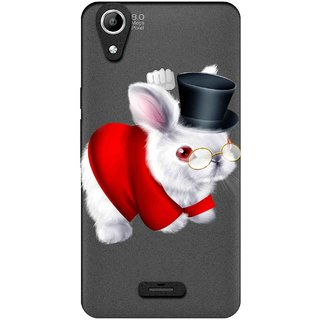 Snooky Printed White Rabbit Mobile Back Cover of Micromax Canvas Selfie Lens Q345 - Multicolour