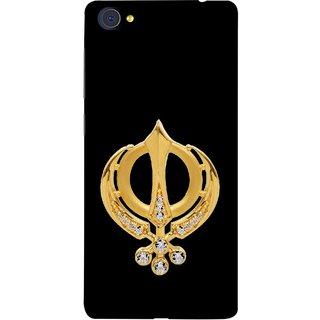 FUSON Designer Back Case Cover For Vivo X7 Plus (Khalsa Khanda Guru Nanak Sikh Pendant Diamonds)