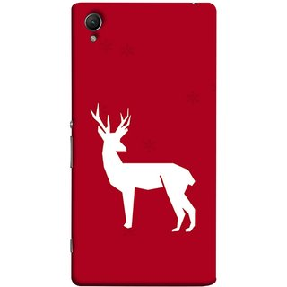 FUSON Designer Back Case Cover For Sony Xperia Z1 :: Sony Xperia Z1 L39h :: Sony Xperia Z1 C6902/L39h :: Sony Xperia Z1 C6903 :: Sony Xperia Z1 C6906 :: Sony Xperia Z1 C6943  (Illustration Silhouette Majestic Standing Reindeer)