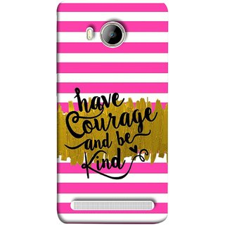 FUSON Designer Back Case Cover For Vivo Xshot :: Vivo X Shot (Pink And White Horizontal Strips Gold Paint Black Font)