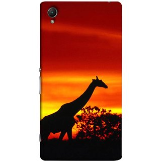 FUSON Designer Back Case Cover For Sony Xperia Z1 :: Sony Xperia Z1 L39h :: Sony Xperia Z1 C6902/L39h :: Sony Xperia Z1 C6903 :: Sony Xperia Z1 C6906 :: Sony Xperia Z1 C6943  (Africa Sunset Giraffe Evening Wildlife Animals )