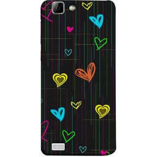 FUSON Designer Back Case Cover For Vivo Y27 :: Vivo Y27L (Multicolour Hearts Shapes Shining Shapes Loopable)
