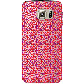 Snooky Printed Color Heart Mobile Back Cover of Samsung Galaxy S6 Edge - Multicolour