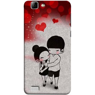 FUSON Designer Back Case Cover For Vivo X3S (Couple Enjoying Beautiful Lovers Red Hearts)